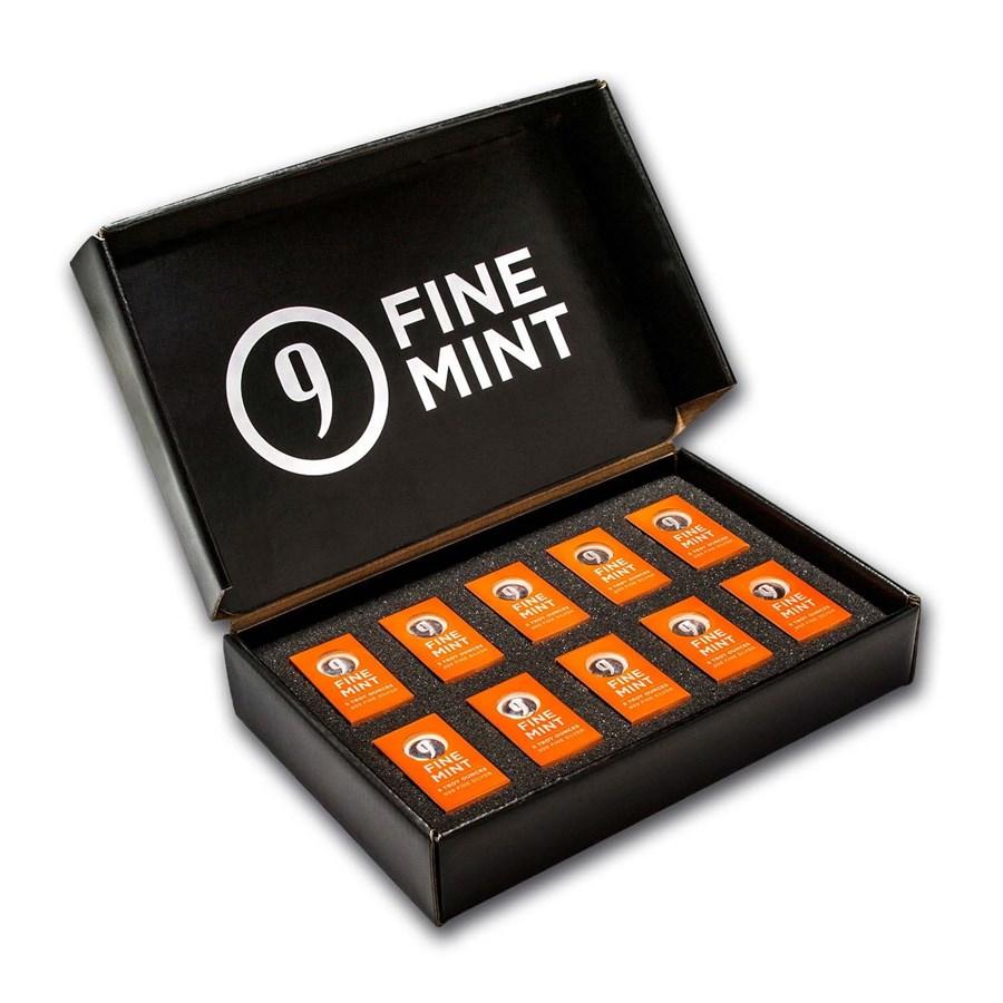 5 oz Cast-Poured Silver Bar - 9Fine Mint (10 pc. Multi-Pak)