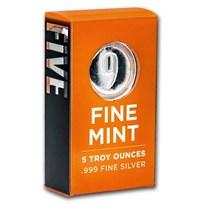 5 oz Cast-Poured Silver Bar - 9Fine Mint