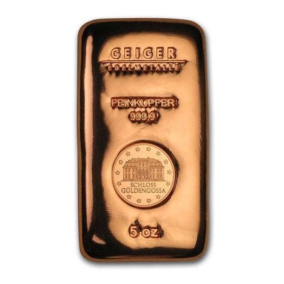 5 oz Copper Bar - Geiger (Poured, .9999 Fine)