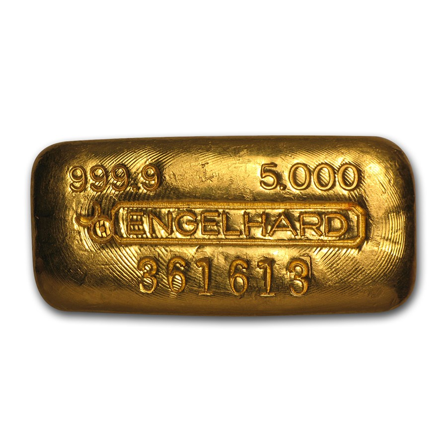 5 oz Gold Bar - Engelhard (Poured/Loaf-Style, Bull Logo)