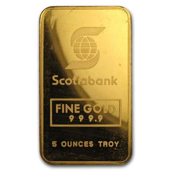 5 oz Gold Bar - Engelhard (Scotiabank, Maple)