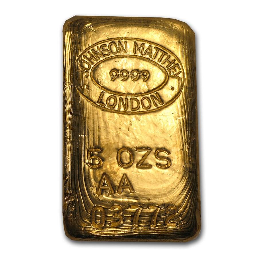 5 oz Gold Bar - Johnson Matthey-London (Poured, RNB)
