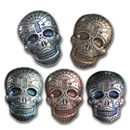 5 oz Hand Poured Silver Skull - Day of the Dead: Spiderweb
