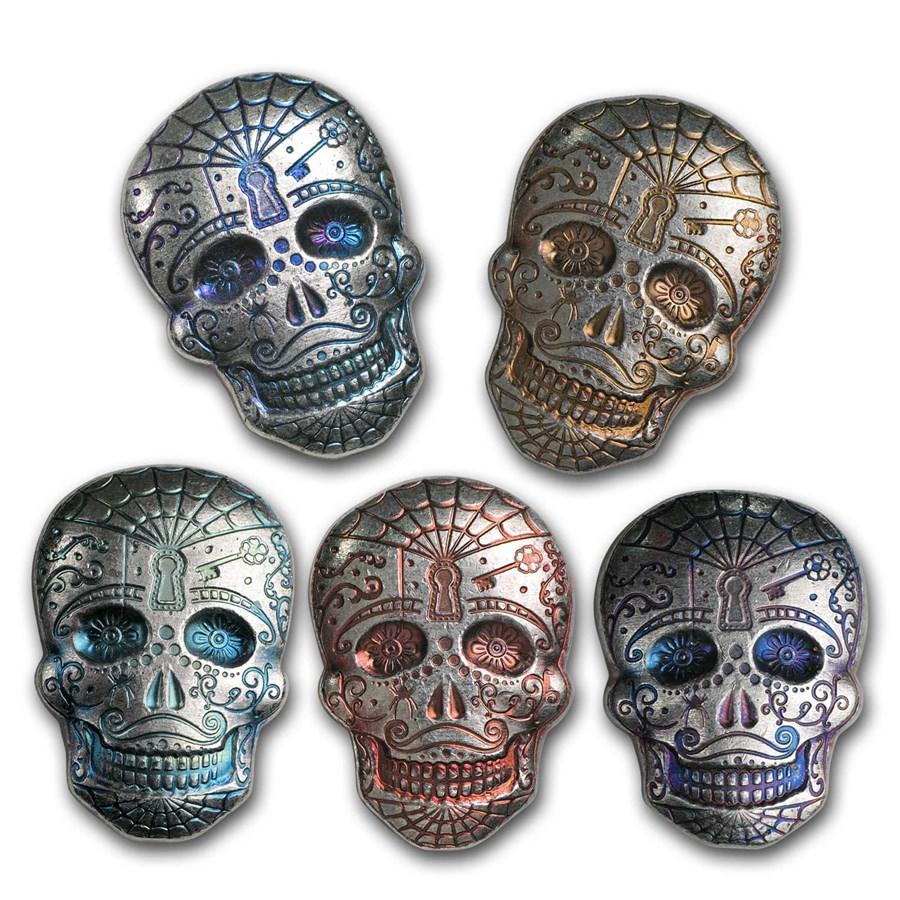 5 oz Hand Poured Silver Skull - Day of the Dead: Spiderweb