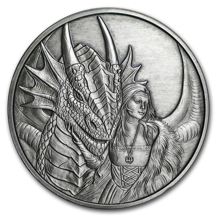 5 oz Silver Antique Round - Anne Stokes Dragons: Friend or Foe