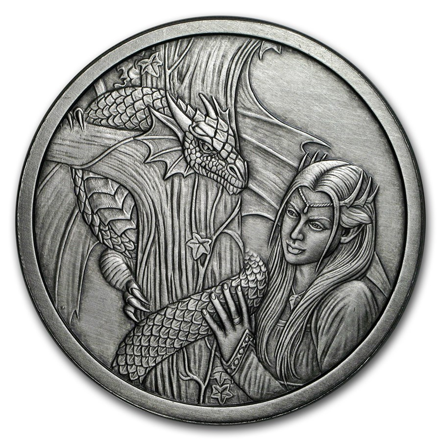 5 oz Silver Antique Round - Anne Stokes Dragons: Kindred Spirits