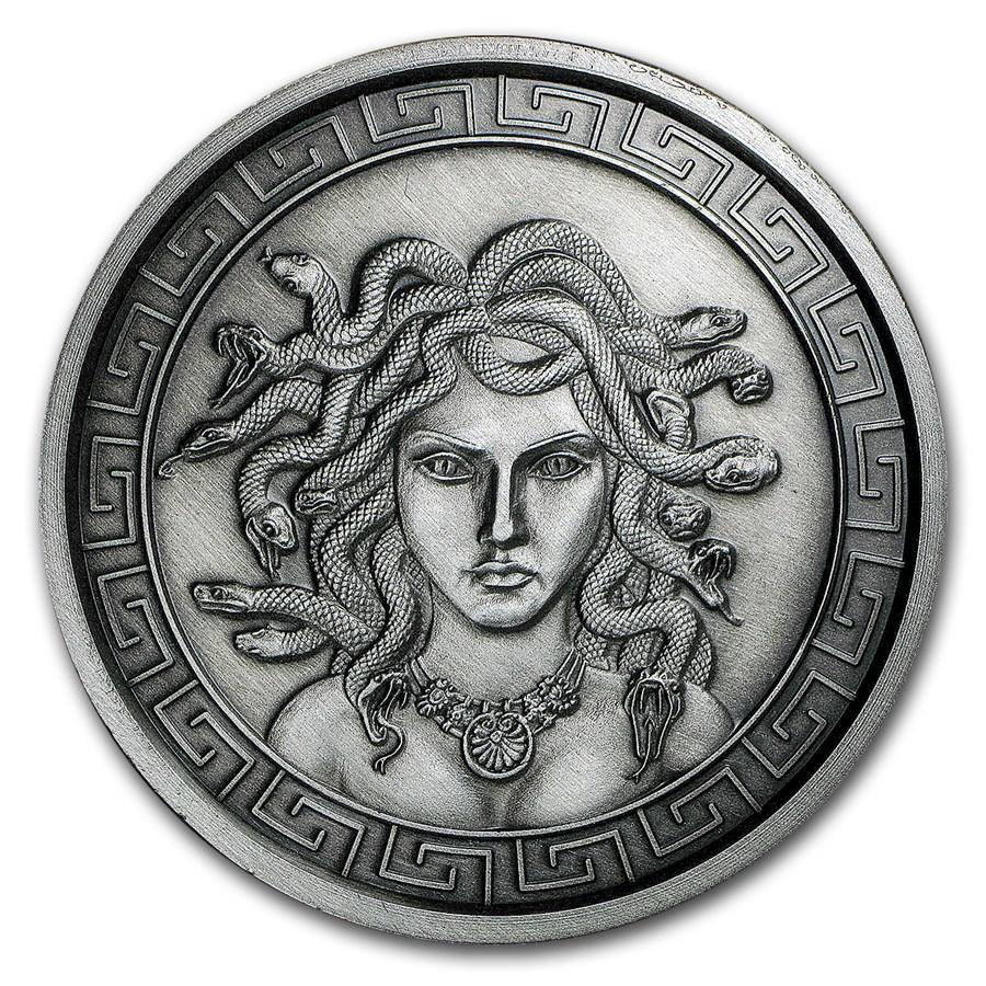 5 oz Silver Antique Round - Classic Greek Medusa