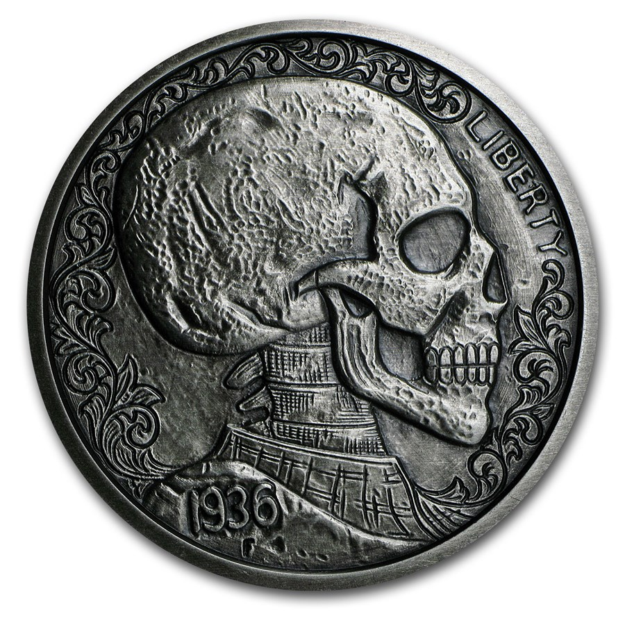 5 oz Silver Antique Round - Hobo Nickel (Skulls & Scrolls)