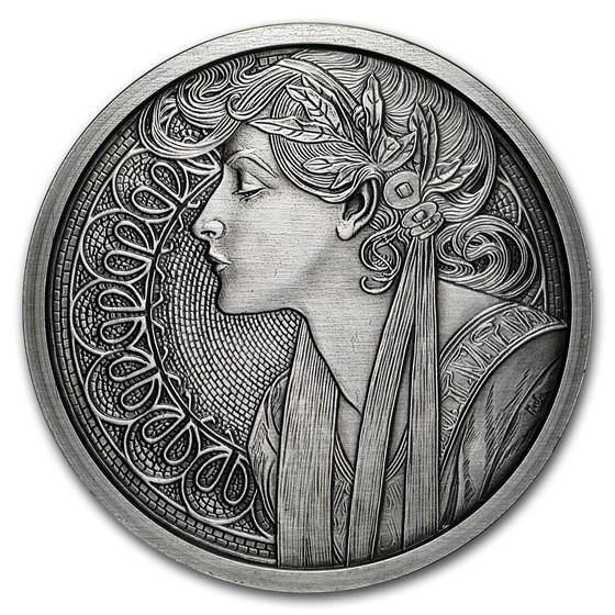 5 oz Silver Antique Round - Mucha Series (Laurel)