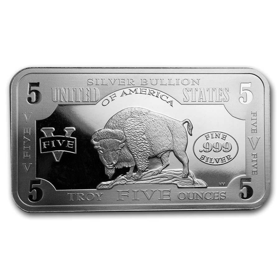 5 oz Silver Bar - 1901 $10 Bison Note