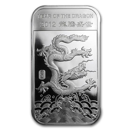 5 oz Silver Bar - APMEX (2012 Year of the Dragon)