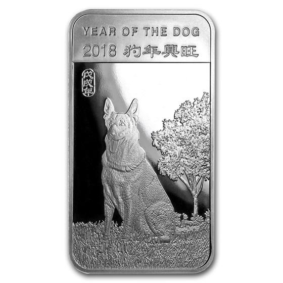 5 oz Silver Bar - APMEX (2018 Year of the Dog)