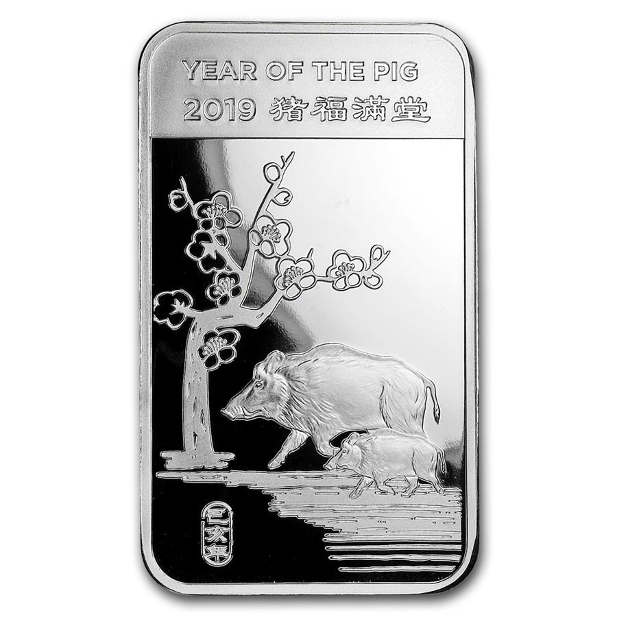 5 oz Silver Bar - APMEX (2019 Year of the Pig)