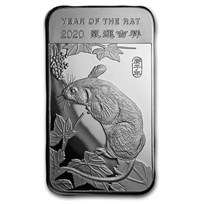 5 oz Silver Bar - APMEX (2020 Year of the Rat)