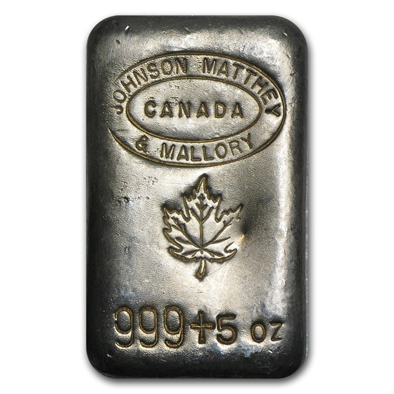 5 oz Silver Bar - Johnson Matthey & Mallory (Maple Leaf)