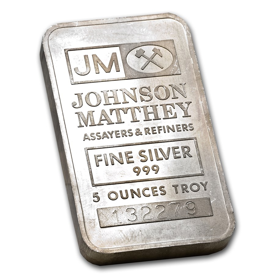 5 oz Silver Bar - Johnson Matthey (Scruffy)