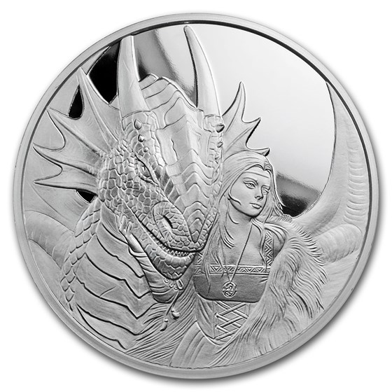 5 oz Silver Proof Round - Anne Stokes Dragons: Friend or Foe