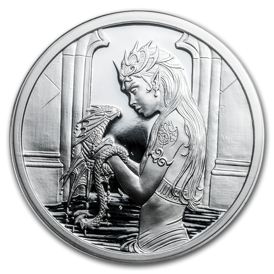5 oz Silver Proof Round - Anne Stokes Dragons: Water Dragon