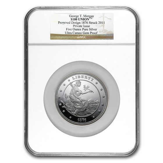 5 oz Silver Round - $100 Silver Union George T. Morgan NGC