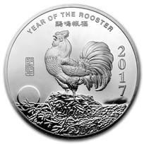 5 oz Silver Round - APMEX (2017 Year of the Rooster)