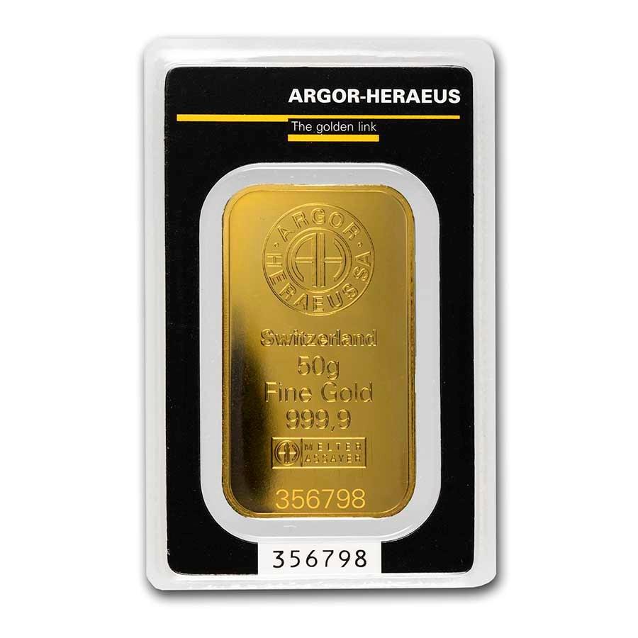 50 gram Gold Bar - Argor-Heraeus (w/Assay)