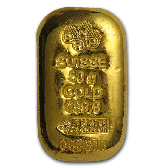 50 gram Gold Bar - PAMP Suisse (Cast, w/Assay)