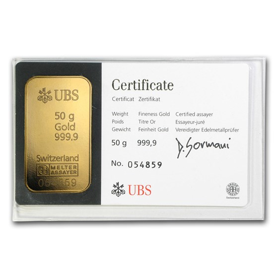 50 gram Gold Bar - UBS (Crossed Keys, In Assay)