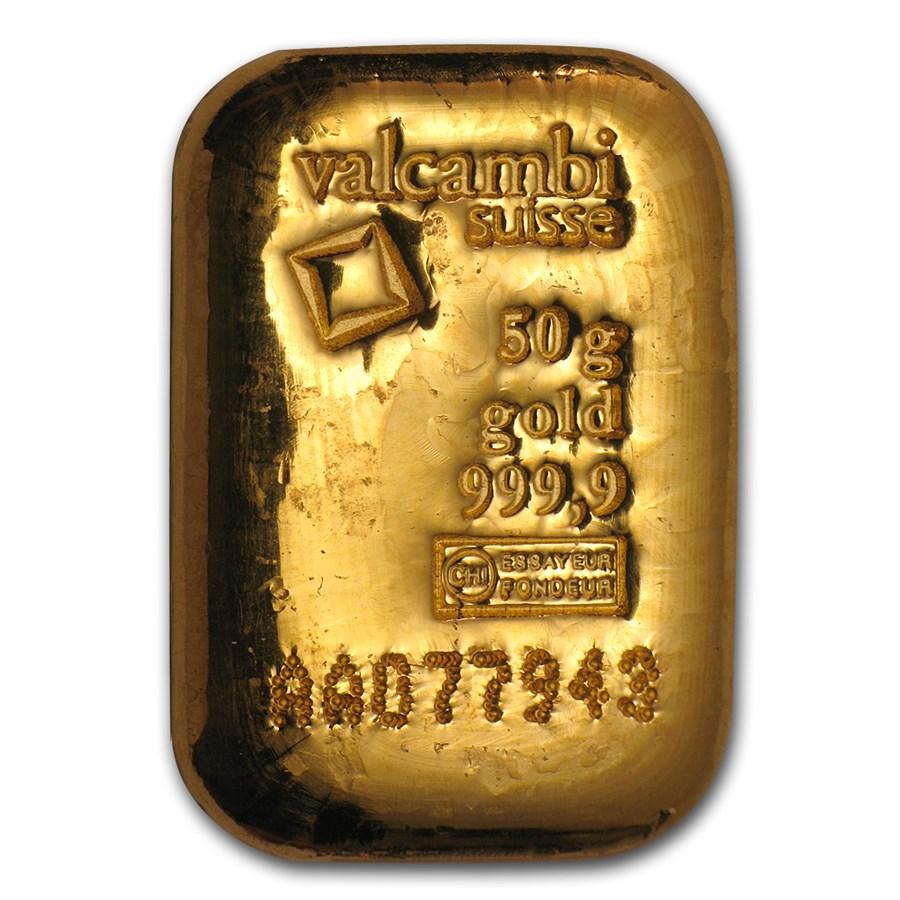 50 gram Gold Bar - Valcambi (Poured w/Assay)