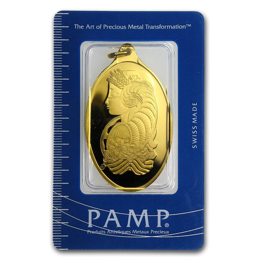50 gram Gold Pendant - PAMP Suisse (Fortuna, Oval)