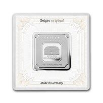 50 gram Silver Square - Geiger Edelmetalle (Encapsulated w/Assay)