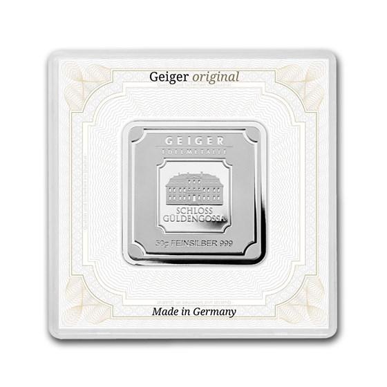 50 gram Silver Square - Geiger Edelmetalle (Encapsulated w/Assay)