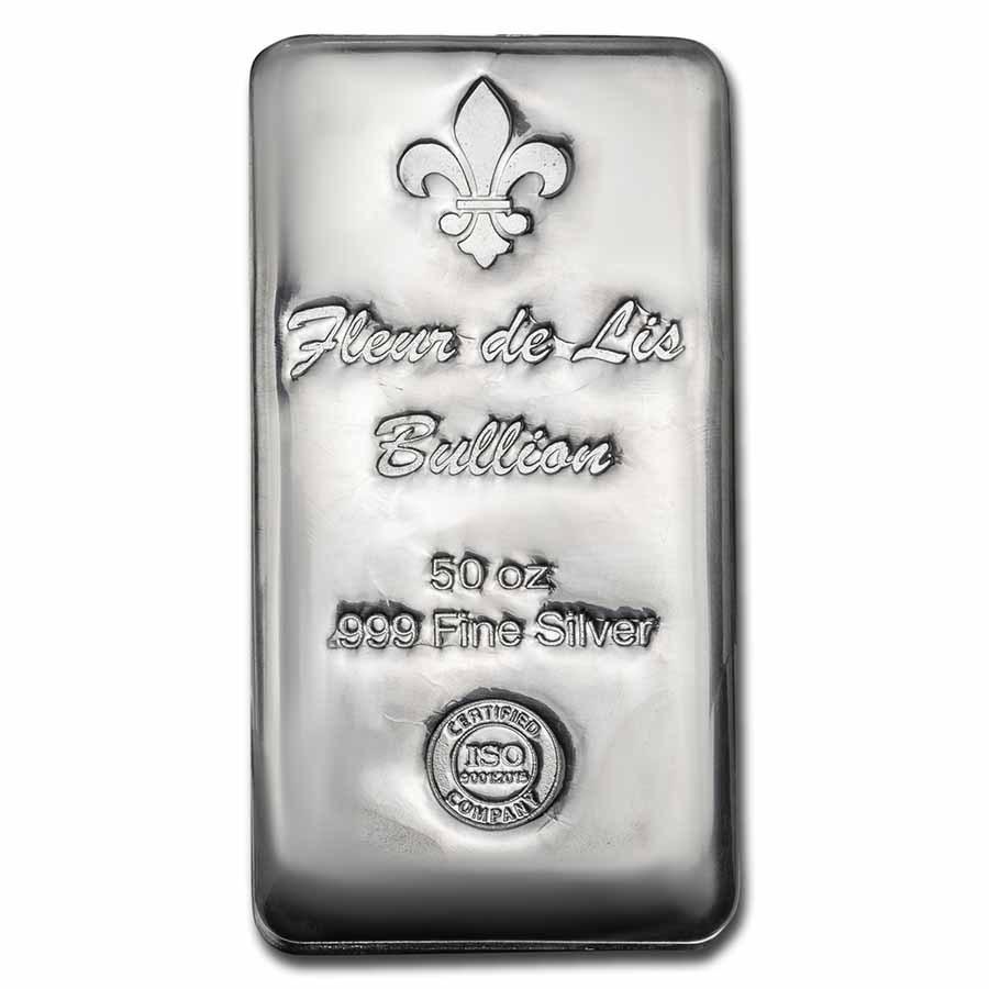 50 oz Cast-Poured Silver Bar - Fleur De Lis Bullion