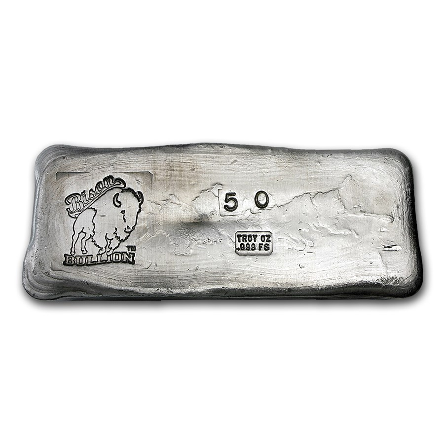 50 oz Hand Poured Silver Bar - BB