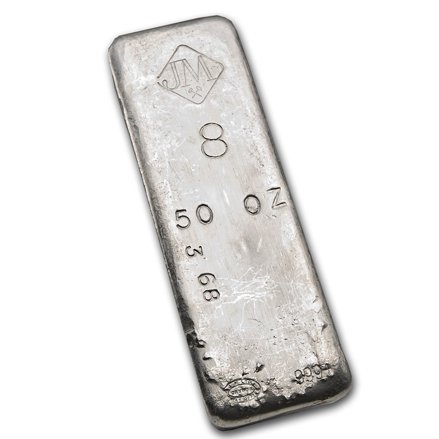 50 oz Silver Bar - Johnson Matthey (Vintage/8, #368)