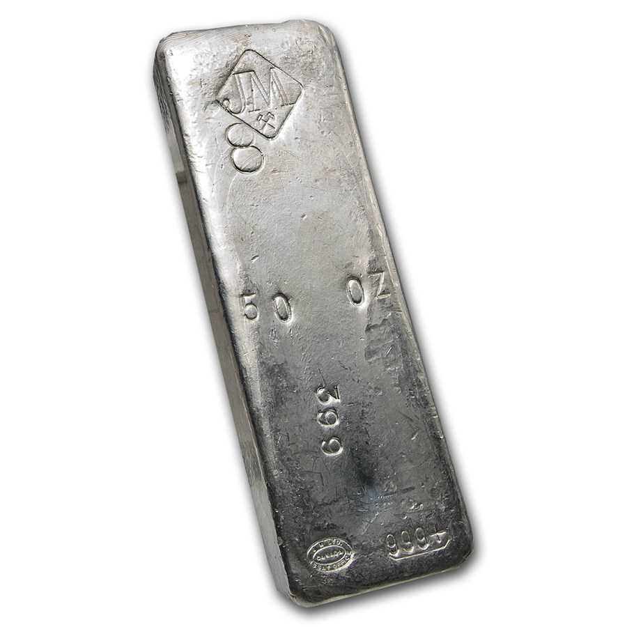 50 oz Silver Bar - Johnson Matthey (Vintage/8, #399)