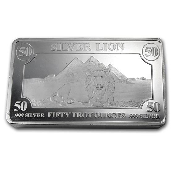 50 oz Silver Bar - Lion