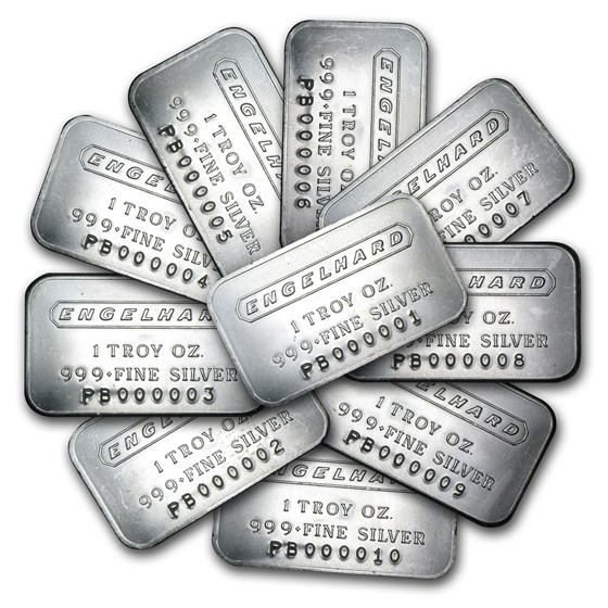 (500) 1 oz Silver Bar - Engelhard Set (Frosted/1980/6-digit)