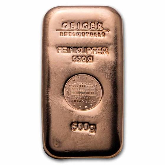500 gram Copper Bar - Geiger (Poured, .9999 Fine)