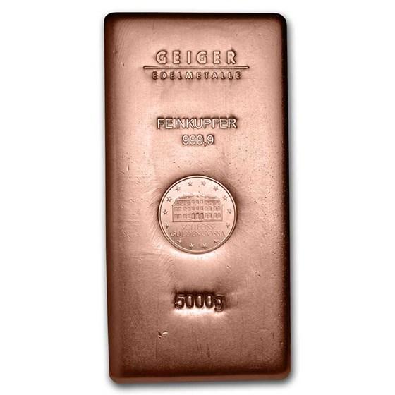5000 gram Copper Bar - Geiger (Poured, .9999 Fine)