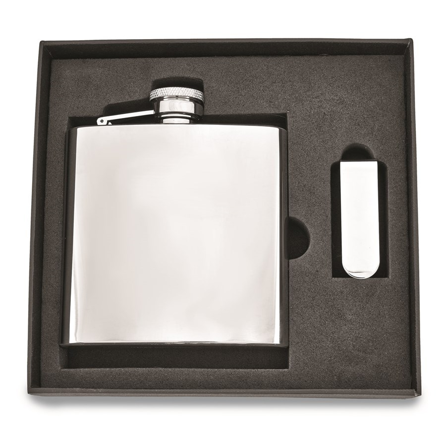 6 oz. Stainless Steel Flask and Money Clip Gift Set