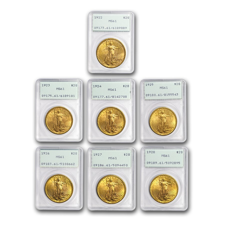 7-Coin $20 Saint Double Eagle Date Set MS-61 PCGS (Rattlers)