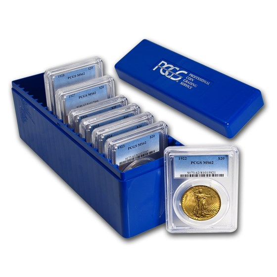 7-Coin $20 Saint-Gaudens Gold Double Eagle Date Set MS-62 PCGS