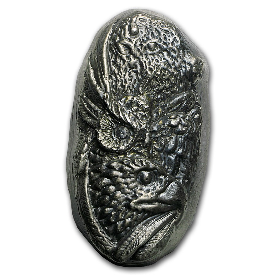 7 oz Hand Poured Silver Bar - 3-Animal Totem Pole