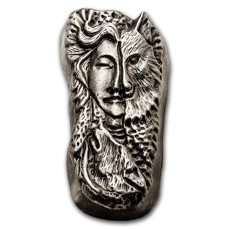 7 oz Hand Poured Silver Bar - Wolf Woman