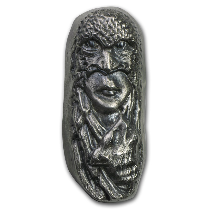 7 oz Silver Bar - Bison Bullion (Eagle Mask/1st 50 Issued, #5)