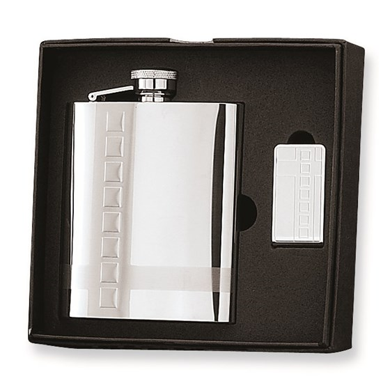 8 oz. Classic Stainless Steel Flask & Money Clip Gift Set