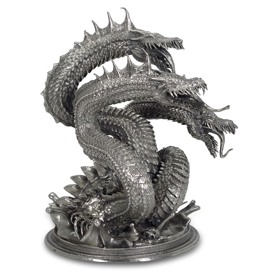 8 oz Silver Antique Statue - Hydra the Mythical Sea Serpent