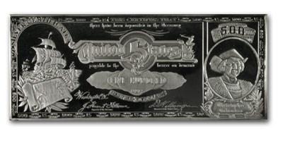 8 oz Silver Bar - $500 Bill (Columbus)