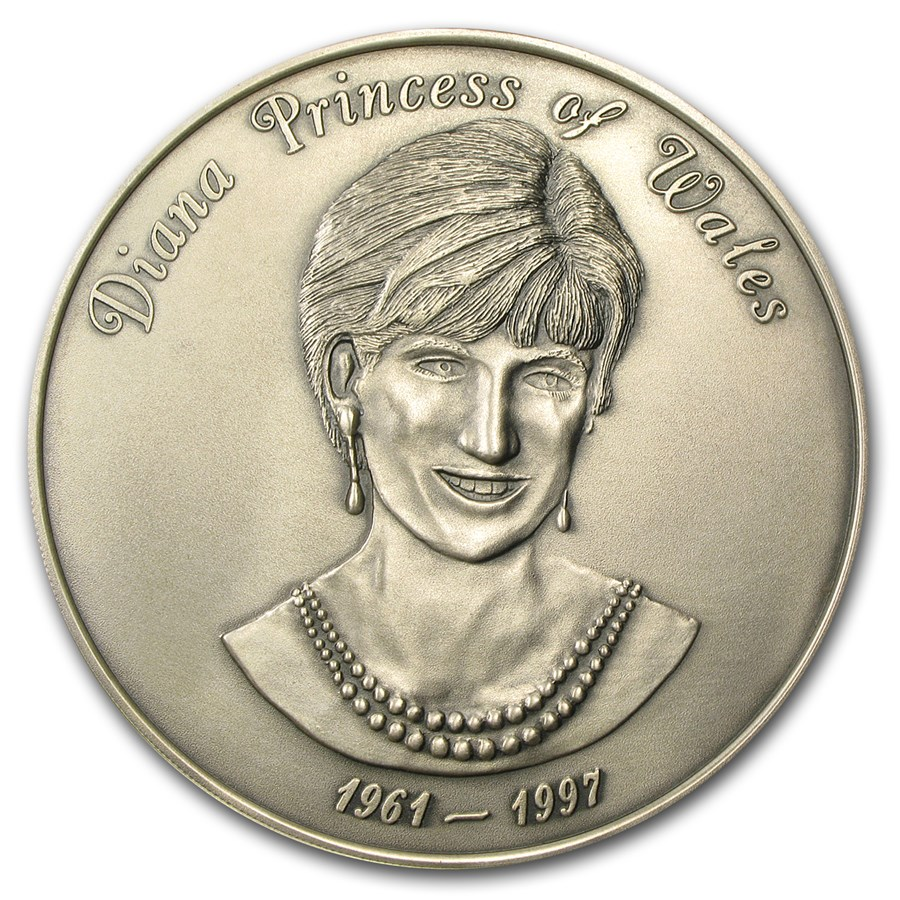 8 oz Silver Round - Princess Diana English Rose (Antiqued)