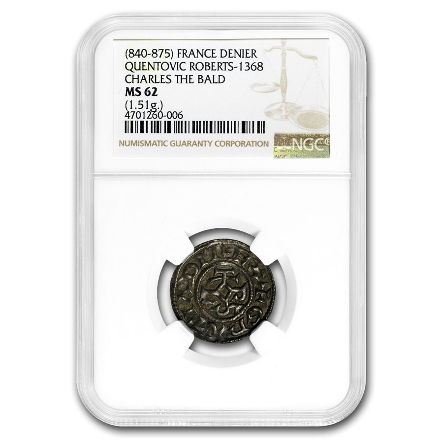 840-875 France Silver Denier Charles the Bald MS-62 NGC